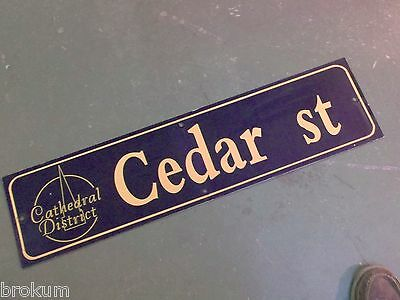 "Vintage CEDAR ST Cathedral District Street Sign 36"" X 9"" - GOLD on NAVY Ground"