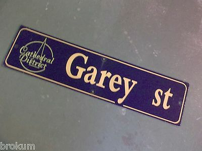 "Vintage GAREY ST Cathedral District Street Sign 36"" X 9"" - GOLD on NAVY Ground"
