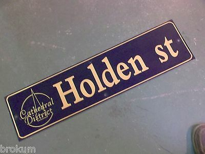 "Vintage HOLDEN ST Cathedral District Street Sign 36"" X 9"" - GOLD on NAVY Ground"