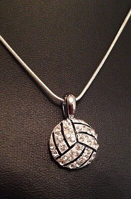 "16"" Silver Volleyball Rhinestone Necklace  Silver 925 Chain Sport Christmas Gift"