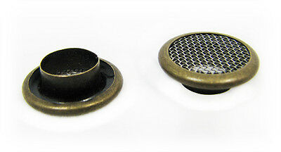 Cigar Box Guitar Parts: 12pc. 15mm Screened Antq Brass Grommets/Washers 32-26-01
