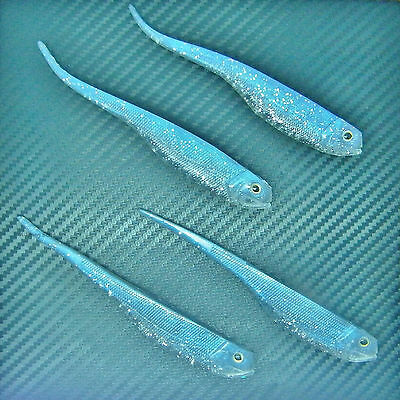 Minnow Shad Needle Tail Soft Lures Pike Bait Jig Head Fishing Tackle Hook 130mm