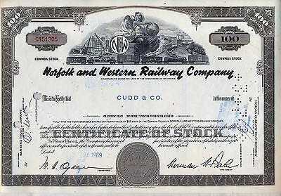 Norfolk & Western Railway Stock Certificate Railroad Southern
