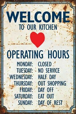 Metal Sign Vintage Plaque Welcome Kitchen Hours Wall Fun Humorous Gift