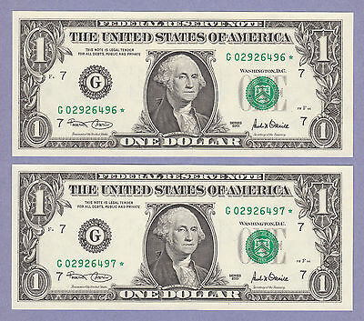 (2) $1 2001 Consecutive * Star Notes * Choice UNC Chicago G's - One Dollar Bills