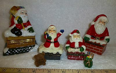 4 Porcelain Hinged Boxes Santa, All Different, Fuzzy Teddy Bear, Charms, Chimney