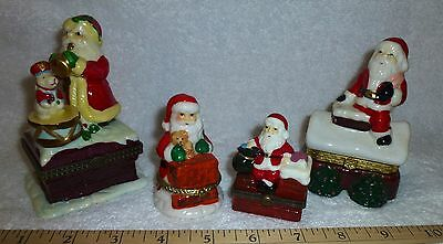 4 Porcelain Hinged Boxes Santa, All Different, Horn Drum Teddy Bear Chimney