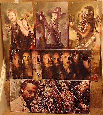 """8 Different Walking Dead Canvas 24""""x10"""" On A Wooden Stretcher Frame,New Design"""