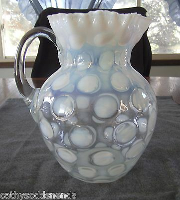 """ANTIQUE NORTHWOOD FRENCH OPALESCENT COIN DOT/COIN SPOT 8"""" PITCHER"""