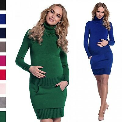 Happy Mama Women's Maternity Stretchy Knitted Tunic Mini Dress Roll Neck. 178p