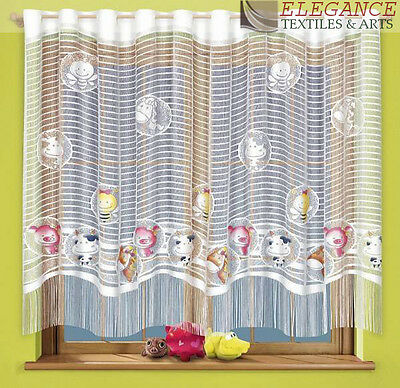 Children Net Curtain Animal Design Multi Colour