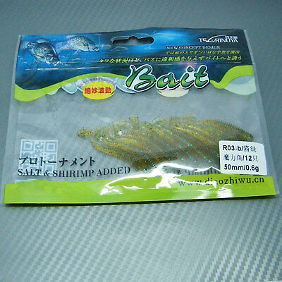 Grub Worm Paddle Tail Soft Jelly Lure Jig Head Drop Shot Fishing Tackle Bait 5cm