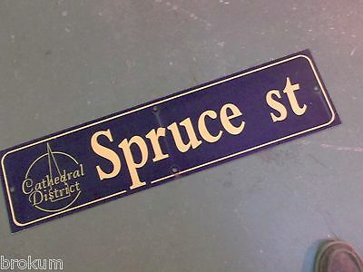 "Vintage SPRUCE ST Cathedral District Street Sign 36"" X 9"" - GOLD on NAVY Ground"
