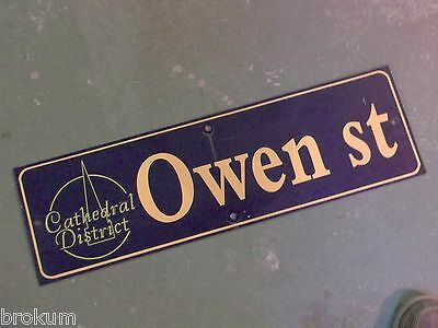 "Vintage OWEN ST Cathedral District Street Sign 30"" X 9"" - GOLD on NAVY Ground"