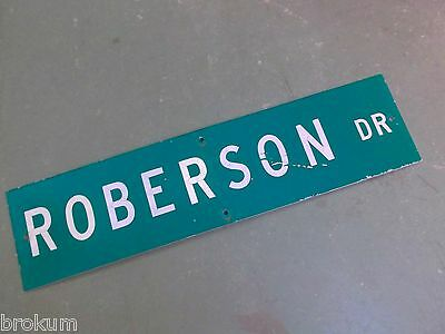 "Vintage ORIGINAL ROBERTSON Street Sign 36"" X 9"" White Lettering on Green Ground"