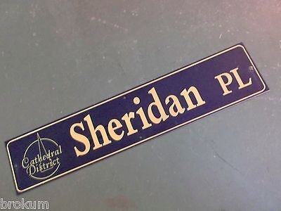 "Vintage SHERIDAN PL Cathedral District Street Sign 42"" X 9"" -GOLD on NAVY Ground"