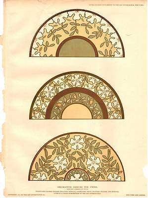 1890 Decorative Designs for China Floral Plate Pattern Antique Vtg Color Print