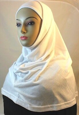 New Two Piece Egyptian Cotton Hijab Amira Islamic Head Scarf Hejab - White Color
