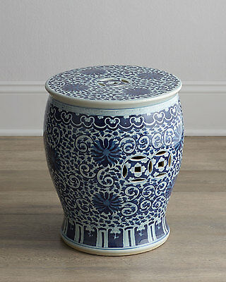 Blue And White Twisted Lotus Chinese Garden Stool Indoor Outdoor