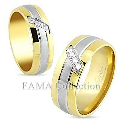 FAMA Stainless Steel Multi paved Gems Center Gold IP Wedding Ring Band Size 5-13