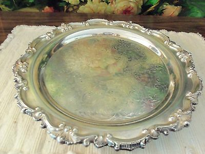 Lovely Bristol Silver Engraved Floral Scroll Round Footed Tray- Mint!