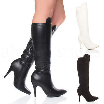 Womens Ladies High Heel Party Zip Stretch Calf Knee Riding Pointed Boots Size