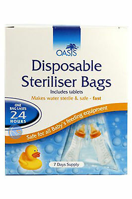 2x OASIS DISPOSABLE STERILISER BAGS INCLUDES TABLETS FOR ANY BOTTLE 7 DAYS SUPPL