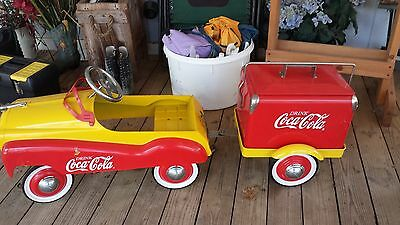 COCA COLA PEDAL CAR W/COOLER AN TRAILER