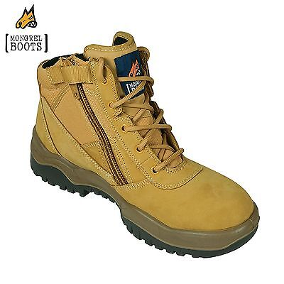 *NEW!* Mongrel WHEAT ZIPSIDER PADDED STEEL TOE ANKLE SAFETY BOOTS [ALL SIZES]