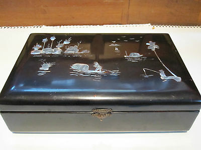 Antique Black Lacquer With Inlaid Mother Of Pearl Mirrored Jewelry Box