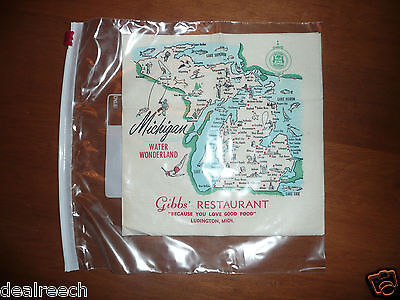 RARE 1954 Michigan Map Nap by Beach Products - Gibb's Restaurant Ludington Mich