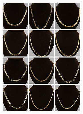 Mens Boys 18K Yellow Gold Filled Link Chain Necklace Jewelry In 28 Styles