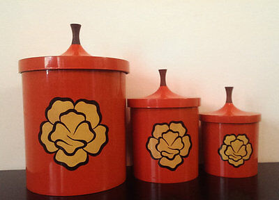 Vintage Set of 3 Nesting Apco Kitchen Canisters- Orange with Yellow Flower
