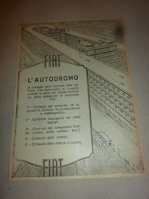 advertising pubblicita' FIAT AUTODROMO DEL LINGOTTO  -- 1925