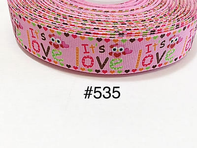 """3 yd 7/8"""" Valentine It's Owl Love with Heart Border on Pink Grosgrain Ribbon"""