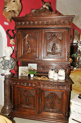Antique French Breton Cabinet includes Masterful Carved Detail, Over 93 inches