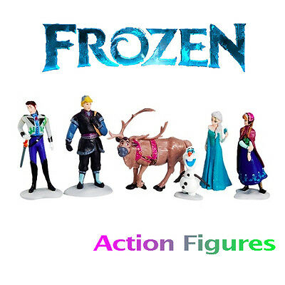 Frozen Figures Play Set of 6 Doll Toys Cake Toppers Anna Elsa Kristoff Olaf Sven