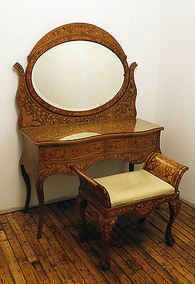 Dutch Floral Marquetry Dressing Table with Mirror With Matching Bench. Late 19th