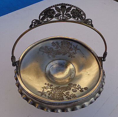 Brides Basket Pedestaled Dish by PAIRPOINT #1244 SilverPlate Handled Quadruple P