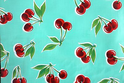 Mexican Oilcloth Tablecloth PVC Waterproof Turquoise Cherries 100 Cm X 120 Cm