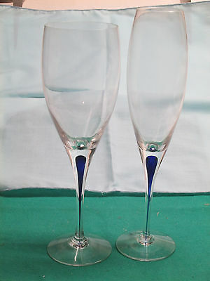 Orrefors Intermezzo fine Swedish crystal 1-flute, 1-goblet all new perfect