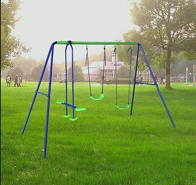Outdoor Swing Set With 2 Swing and 2 Seat Seesaw Birthday Gift for Park Kids Fun