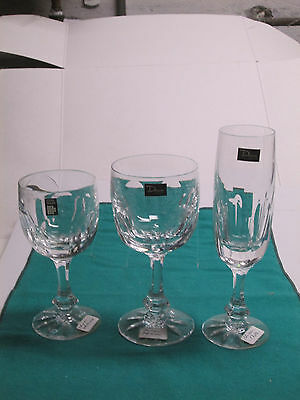 Daum Chinon fine French crystal 1-flute, 1-red wine, 1-white wine new
