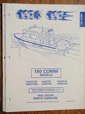 Outboard Parts Manual Evinrude Johnson Year 1995 Catalog 150Hp Commercial Motor