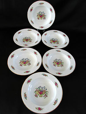 Crown Imperial Czechoslovakia 6 Soup or Cereal Bowls Colorful Bouquets of Flower