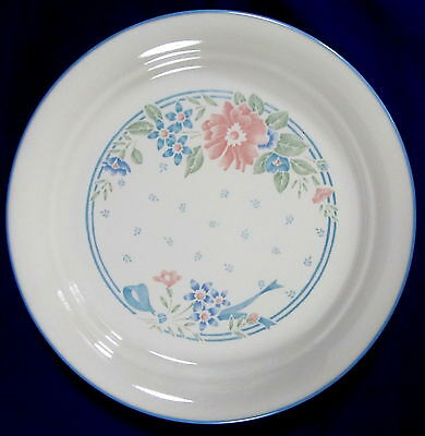 "4 Corelle Symphony 8 1/2"" Luncheon Salad Plates Corning Pink Blue Green Floral"