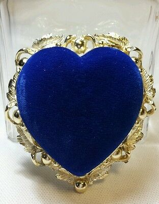 Vintage Blue Velvet and Gold Metal Vining Heart Pin Cushion signed SF circle C
