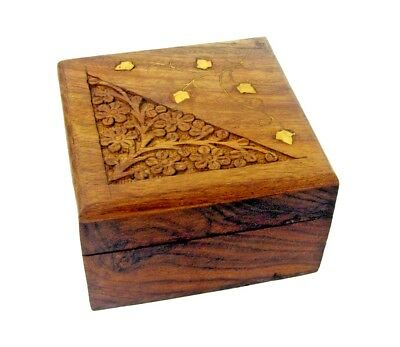 Hand Carved Crafted Wooden Storage Box Stash Jewellery Gift Case Polished Wood
