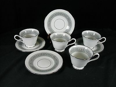 Oxford by Lenox *FILIGREE* Set of 4 Cups & Saucers Bone China USA EXCELLENT!