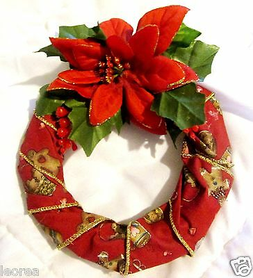 8 1/2 x 6 1/2 Red Christmas Wreath Small Holiday Winter Door Wall Decoration
